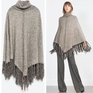 •Zara Knit• Fringed Poncho Turtleneck Shawl